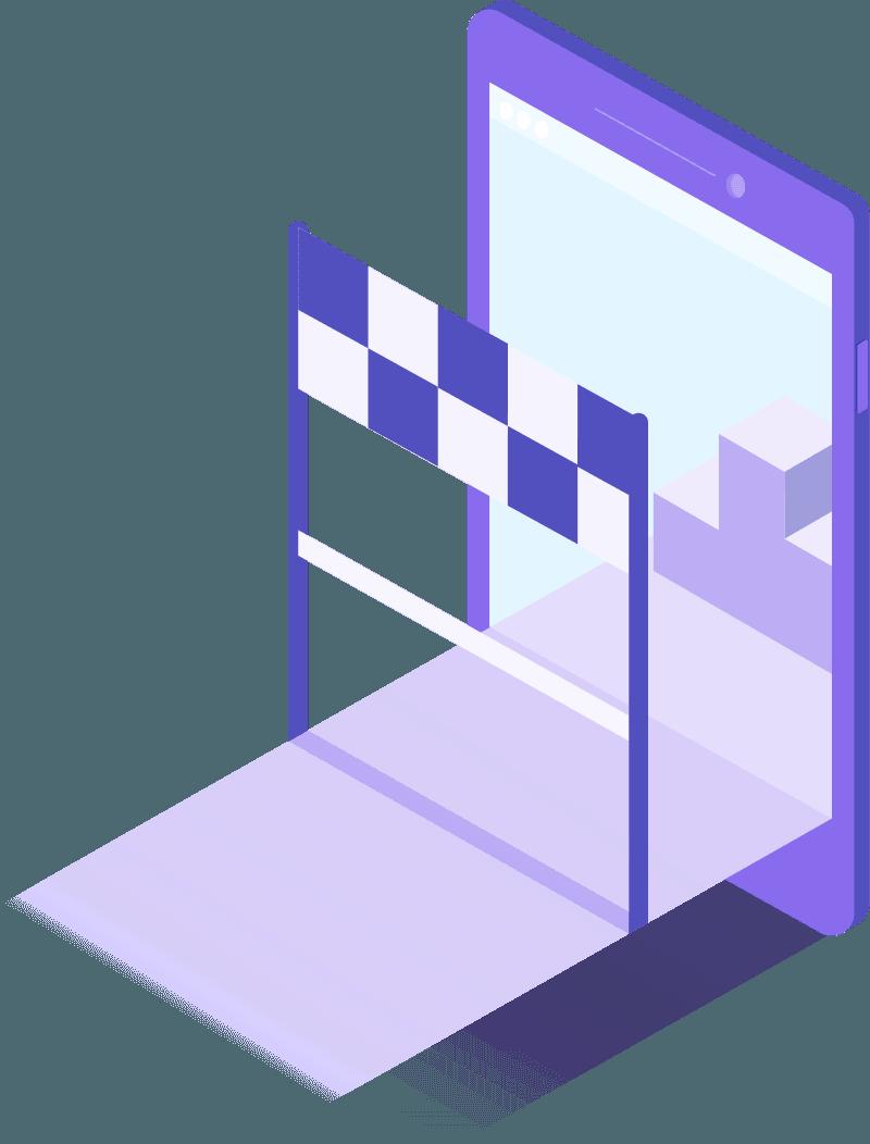 Illustration représentant une ligne d'arrivée superposée avec une tablette