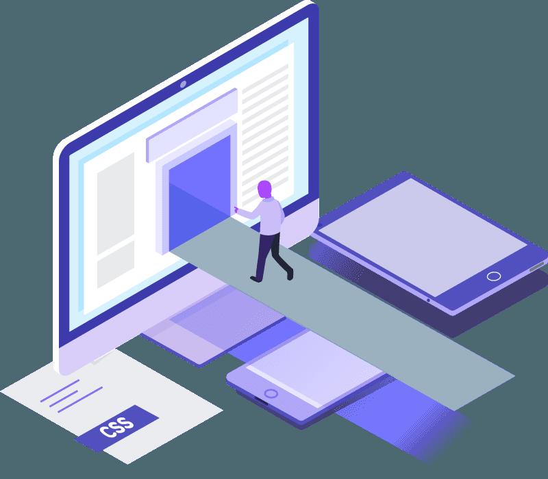 Illustration d'un homme explorant l'intérieur d'un écran d'ordinateur