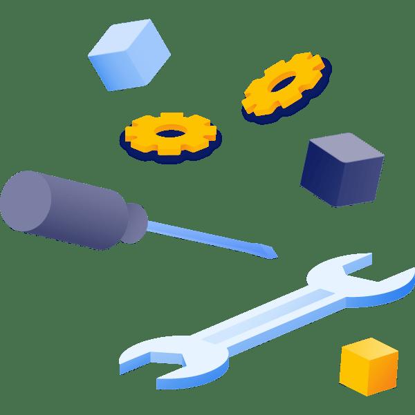 Illustration représentant différents outils, clé, tournevis, rouages
